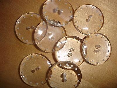 5 Knöpfe durchsichtig, weiße Punkte 2-Loch 17mm Z19.4