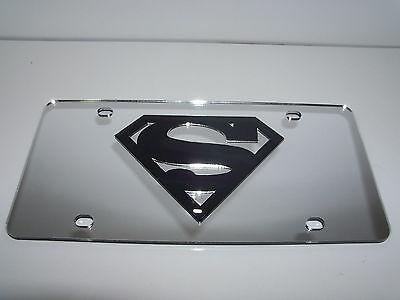 Superman Mirror Laser License Plate Silver/Black  NEW!!