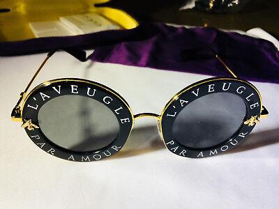 New Authentic Gucci GG0113S 001 Black Gold Sunglasses 44mm L'Aveugle Par Amour