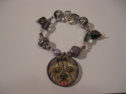 EXCLUSIVE HANDMADE YORKSHIRE TERRIER PENDANT STRETCH BRACELET ASSORTED BEADS NWT
