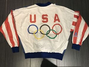 1992 Olympics Tyvek jacket USA with Olympic rings.  Size XL