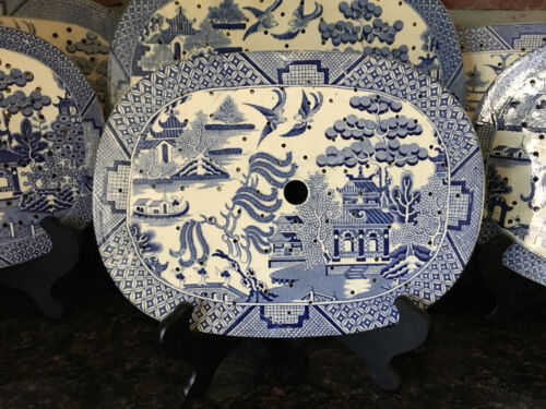 Antique English Meat Platter Drainer Blue Willow Transferware Oval Plateau #9