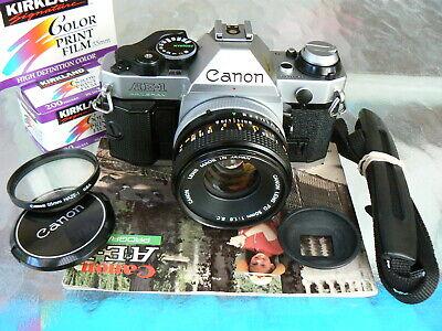 CANON AE-1 PROGRAM CAMERA W/ 50MM F1.8 S.C LENS *SERVICED 35MM SLR MANUAL *MINT