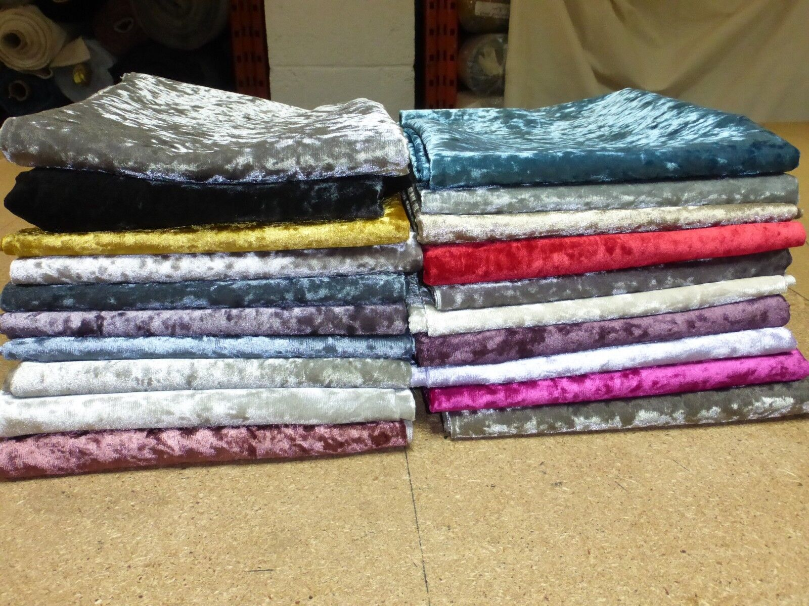 CRUSHED GLITZ VELVET FABRIC - Upholstery Curtains Cushions Crafts (17 COLOURS)