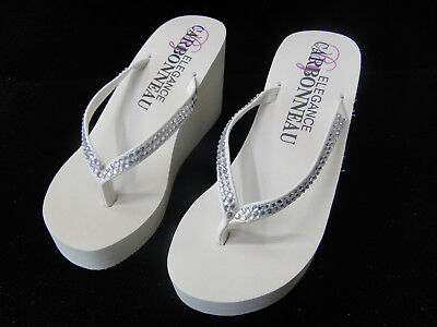 Crystals Thong High wedge Flip Flop type Platform Sandals with - High Wedge Thong