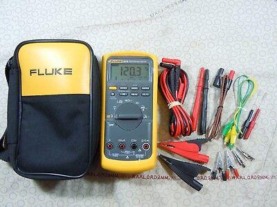 Fluke 87v Trms Multimeter Kit With Leads  Temp Probe Fluke Case - 57838.