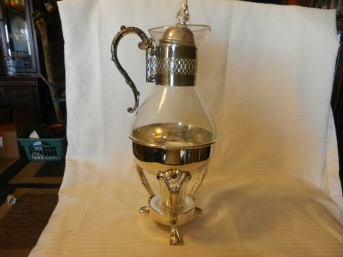 Vintage Silver Plate & Glass Coffee / Tea Carafe Pitcher With Warmer Stand BNOS