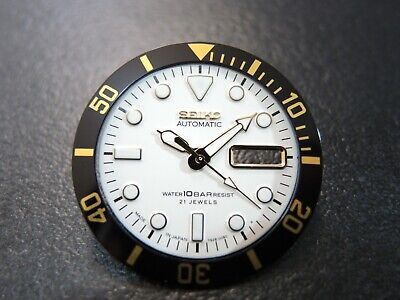 NEW REPLACEMENT WHITE DIAL,HANDS W/ MEDIUM INSERT FITS SEIKO SKX021 DIVERS WATCH for sale  Shipping to United States