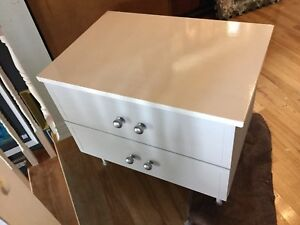 Grey & white imperfect bedside table