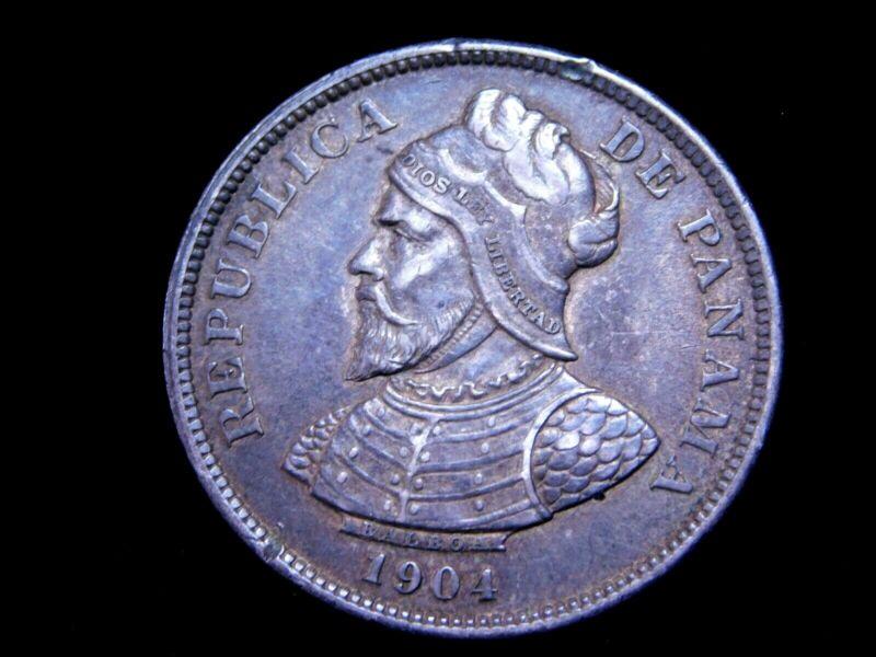 1904 Panama Silver 25 Centesimos - KM 4 - Higher Grade