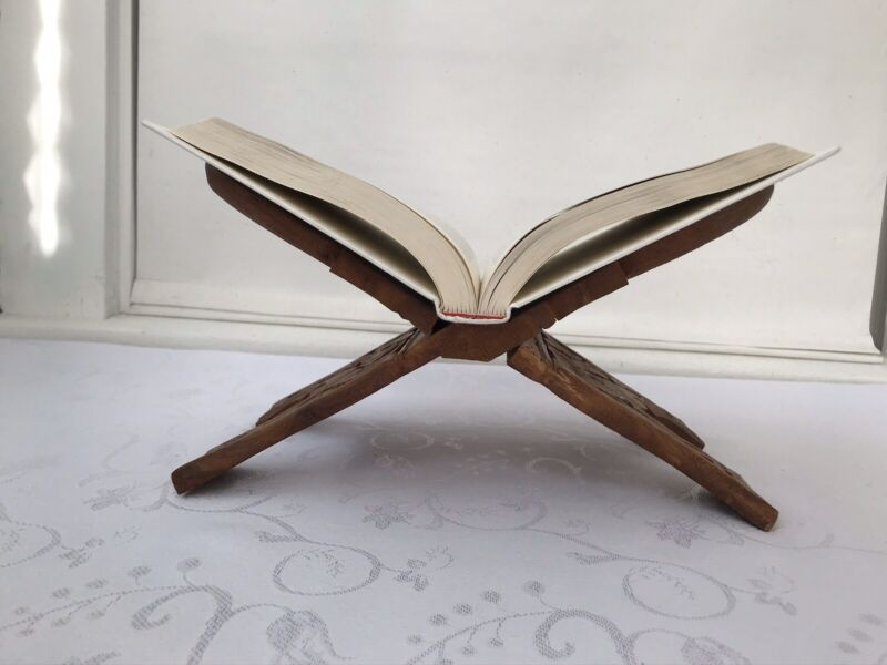 Wood Folding Book Holder Hand Carved Wooden Book Stand Display Floral Decorative