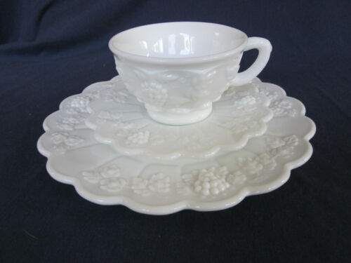 "Westmoreland white milk glass paneled grape 8 1/2"" breakfast plate, cup & saucer"