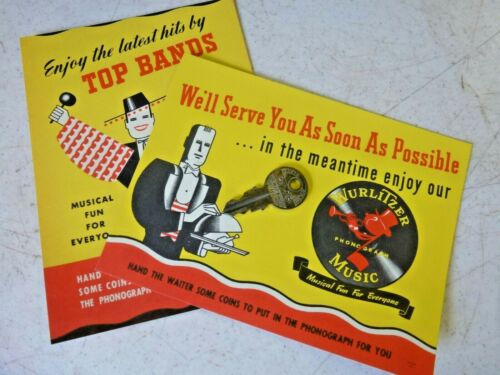 2 Original New Old Stock 1946 Wurlitzer Restaurant Table Cards Very Cool ! ! !