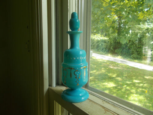 PONTILED 1870s BLUE OPAQUE MILKGLASS COLOGNE TOILET WATER BOTTLE & STOPPER