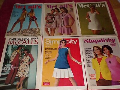 💐 LOT OF 6 SIMPLICITY & McCALL'S FASHION - COUNTER LEAFLETS - 1960's - 1970's