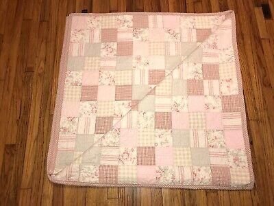 Nautica Patchwork Quilt Pink/Beige/Cream Full/Queen 100% Cotton EUC