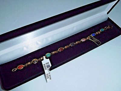 14k Semi Precious Bracelet (GENUINE HAND CUT 8 SCARAB SEMI-PRECIOUS STONES 14K GOLD-FILLED BRACELET ~ QVC  )