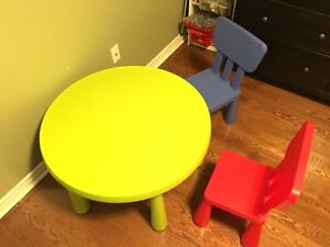 Ikea children's table, chairs