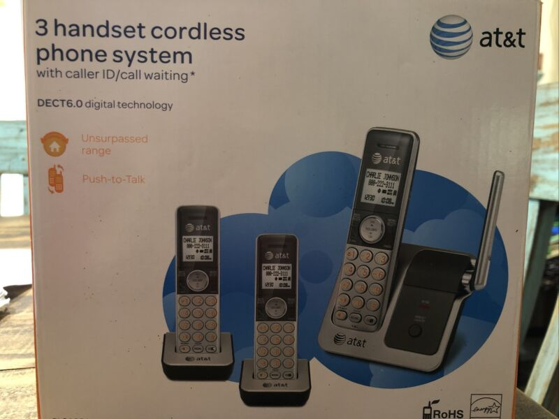 AT&T CL81301 DECT 6.0 Cordless Phone, Silver/Grey, 3 Handsets