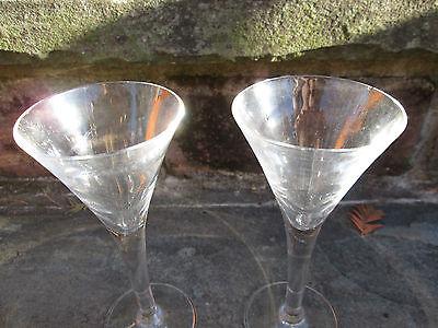 REENACTOR PAIR TAVERN VINTAGE WINE TRUMPET GLASSES SHERRY RUM 18TH COLONIAL OLD