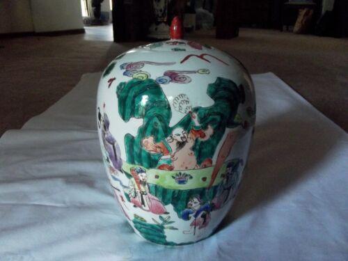 """12"""" Ginger Jar lid Vase Famille Verte Rose Chinese Export Porcelain Ovoid Figure"""