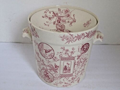 Antique Red Transfer ware Porcelain Slop Bucket with Lid