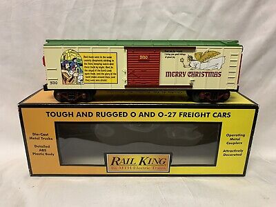 ✅MTH RAILKING 2010 CHRISTMAS BOX CAR 30-74604! FOR O GAUGE TRAIN SET HOLIDAY