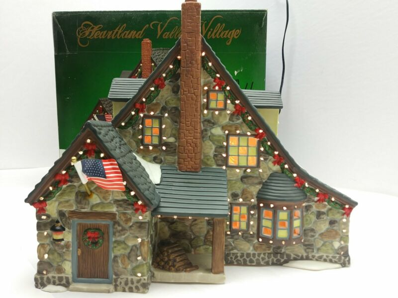 Heartland Valley Village Porcelain Lighted House Stone Cabin 2003 (5B4)