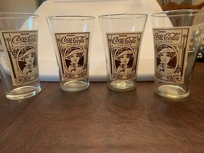 Set Of 4 Vintage The Archives Coca Cola 16oz Drinking Glasses Coke Advertising