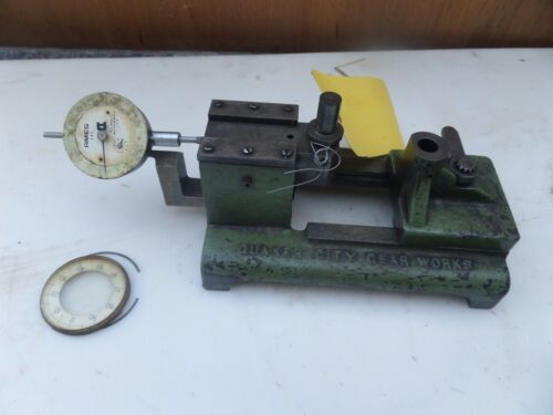 "Vintage Quaker City Gear Tester Checker Industrial Machinist W/ Gauge .001"" USA"