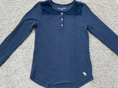abercrombie kids girls 9/10 Ribbed Navy Blue Henley With Lace  for sale  Dudley