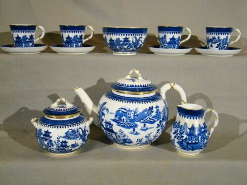 Antique Royal Worcester 12 Pieces Temple Pattern Tea Set  c1876