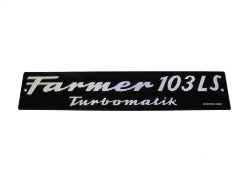 Motorhaubenschild Fendt Farmer 103 LS Turbomatik Schild Traktor Schlepper  Foto 1