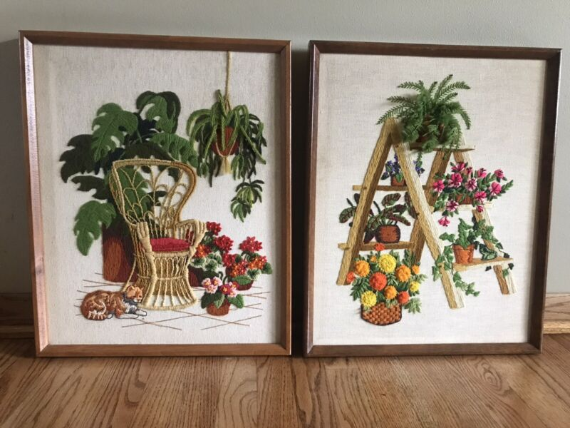 """Lot Of 2 Vtg Crewel Finished 17""""x21"""" Framed Pictures Peacock Chair Plants Ladder"""