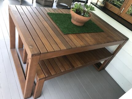 Outdoor table and bench seats
