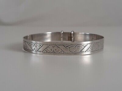 Used, Vintage Sterling Silver Hand Engraved Christening Bangle Bracelet  for sale  Shipping to South Africa