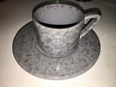"""Mamma Ro of Italy-Gray Espresso Coffee Cup & Saucer-Cup 2"""" Tall/Saucer 5"""" Across"""