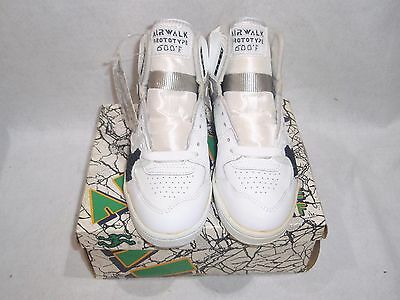 NOS VINTAGE AIRWALK PROTOTYPE SHOES WHITE LEATHER KIDS SIZE 4 BMX SK8 SHOES