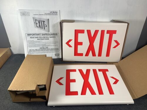 Duallite Hubbell Emergency Red Letter  LED EXIT SIGN LXURWE (New In Box)