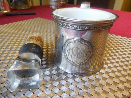 Antique Silver Plate Shaving Mug w/ Milk Glass & Brush Art Nouveau