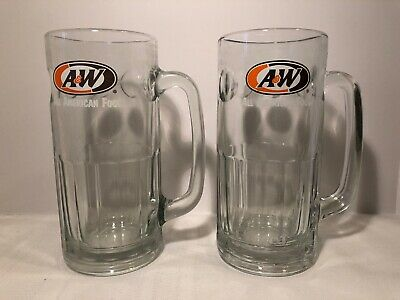 Vintage A & W Root beer Float Glass Mugs