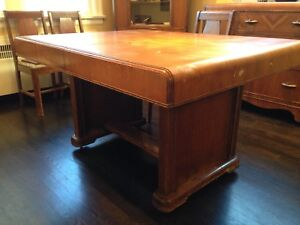 dining table, sideboard, hutch, 6 chairs
