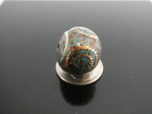 Vintage Nepal 14mm x 15mm Bronze Coral Tibetan Turquoise Mosaic Bead -One Piece
