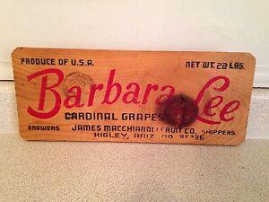 "Vintage Barbara Lee Cardinal Grapes Sign, 13.5"" x 5.5"""
