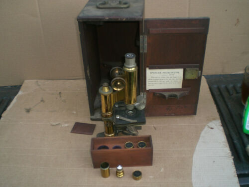 1900 Antique Brass Spencer Lens Co Microscope  with Wood Case