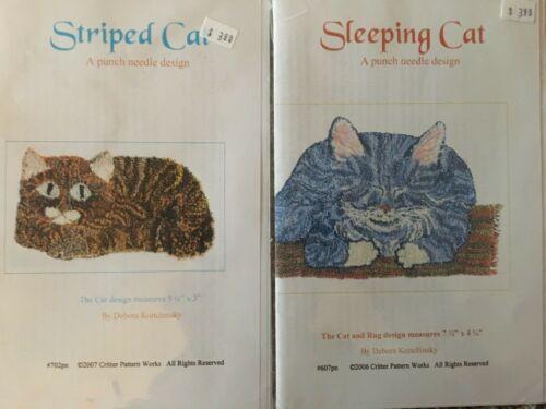 Lot 2 Punch Needle Design Patterns Sleeping Cat & Striped Cat Debora Konchinsky