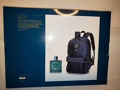 Versace Mens Eros Blue 2-PC Gift Set Eau De Toilette & Backpack Authentic NIB