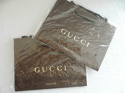 2 x Brand New Gucci Gift Bag Shopping Bags/ Paper Bags...new & still in plastic