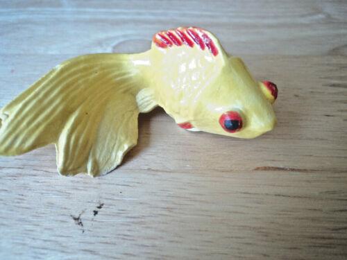 SMALL CERAMIC FIGURINE HANDMADE YELLOW GOLDFISH GOLD FISH