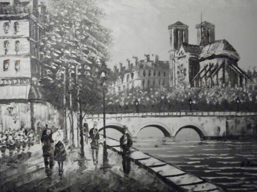 sepia+paris+notre+dame+cathedral+large+oil+painting+canvas+french+original+art